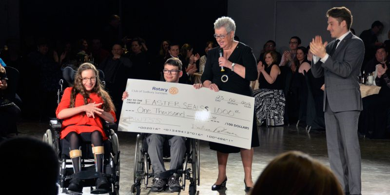 Easter Seals Kids are presented a cheque at the Sudbury event